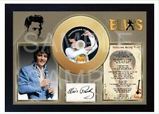 Elvis Presley Unchained Melody Moo Mini Gold Vinyl CD Record Signed Framed Print