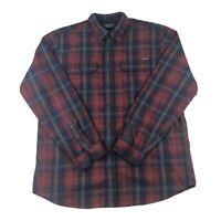 Eddie Bauer Mens Red Plaid Cotton Flannel Button Front Long Sleeve Shirt Sz TXL