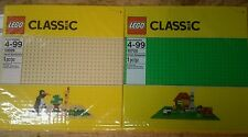 """Lot 2x LEGO 32x32 Baseplate Large Green 10700 & 10699 Tan Sand 10""""x10"""" New"""