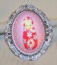 Dot Russian Nesting Doll Brooch Pin Lovely Etch Swirl Rim Silvertone Pink Polka