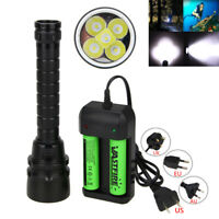 Underwater 200m 20000Lm 5x XM-L T6 LED Scuba Light Flashlight Fishing Torch Lamp