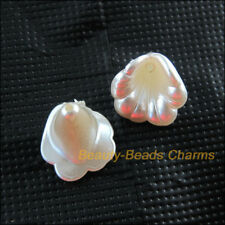 25 New Charms Acrylic Plastic Flower Horn Spacer End Bead Caps White 13.5x14.5mm