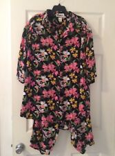 We Be Bop Tropical Orchid  Capri Top Set Rayon Short Sleeve Button Down