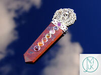 Red Jasper 7 Chakra Flat Natural Gemstone Pendant Necklace 50cm Healing Stone
