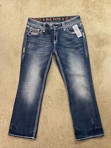 Rock revival Jacklyn capri Denim women jeans size 32 NEW