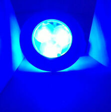 MARINE BOAT RV BUS 3 LED BLUE COLORED ROUND COURTESY LIGHT PLASTIC FLUSH/SURFACE