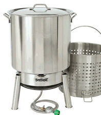 Bayou Classic Crawfish Kit 82-qt Stainless Steel Pot w Boil Basket Jet Cooker