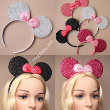 SPARKLY MOUSE EARS SEQUIN BOW HEADBAND HEAD BAND MINNIE FANCY DRESS HEN PARTY