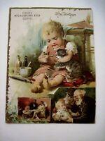 "Adorable Victorian Trade Card ""McLaughlin's Coffee"" w/ Baby Giving Kitten Meds*"
