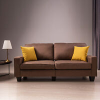 Upholstered Loveseat Sofa Linen Fabric Couch w/ Track Armrest Living Room Brown