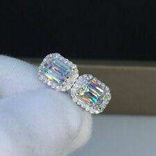 4Ct Emerald Cut VVS1D Diamond Push Back Halo Stud Earrings 18K White Gold Finish