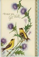 VINTAGE CHICKADEE BIRDS PURPLE THISTLE GARDEN FLOWERS WILDFLOWERS CARD ART PRINT