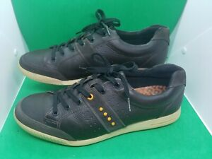 Ecco Brown Leather TPU Spikeless Casual Golf Men's Shoes Size 46 US 12 12.5