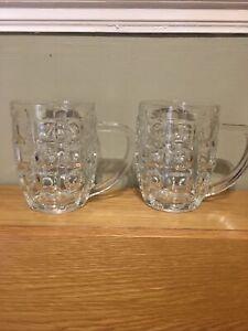 PAIR OF PINT DIMPLED TANKARD VINTAGE DIMPLE BAR MAN CAVE HANDLE GLASS MUG Italy