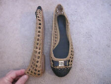 TORY BURCH Camel Brown / Black Woven Leather Toe Cap Flats w/ Bow CARLYLE 6.5 M