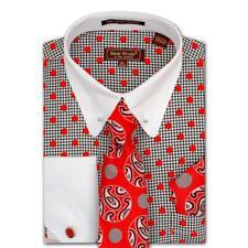 Henri Picard Red / White / Black Cotton / Poly Dress Shirt / Tie / Cufflink Set