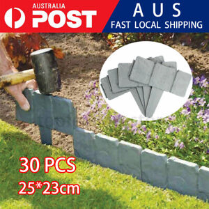 30X Stone Effect Plastic Foldable Garden Edging Plant Flower Border edging Fence