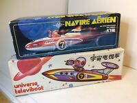 VINTAGE ROCKET SHIP  Universe Televiboat & Great Flying Boat W/ Boxes READ FI