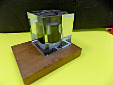 LUCITE PAPERWEIGHT BARREL or STORAGE TANK of CRUDE OIL Mounted on Wood Base
