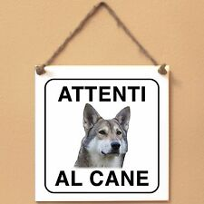 Cane lupo di Saarloos 2 Attenti al cane Targa piastrella cartello
