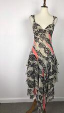 Sass & Bide Sydney Silk Sheer Print Tiered Lined Tank Dress Sz 6