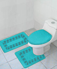 Aqua Turquoise 3Pc Set Bathroom Solid Embroidery Anti-Slip Backing Bathmats #5