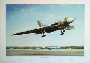 """Signed Art Print """" Cleared for Take-off """" by Mal Grosse - Vulcan Bomber XH558"""