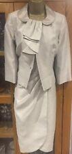 Size 8 Betty Jackson Black Silver Grey Mother Of Bride  Dress Jacket Suit
