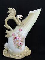 """Antique Hand Painted Dragon Handle Floral Porcelain 12"""" Vase"""