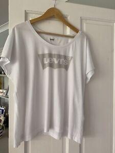 LEVI'S Women's Ladies White Logo T-shirt Size Large