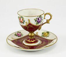 2pc. Limoges Porcelain Peint Main Footed Demitasse & Saucer; Gilt & Red.