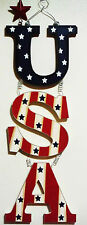 4TH OF JULY PATRIOTIC WOODEN U.S.A. HANGER. PATRIOTIC RED WHITE & BLUE w/STARS 1