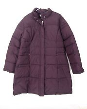Garnet Hill Womens Eggplant Purple Quilted Puffer Long Down Coat Jacket 18 $248