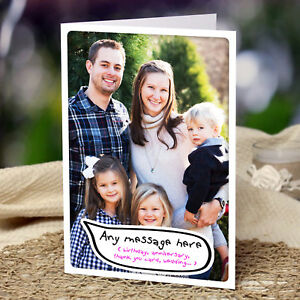 Personalised Own Photo Greeting Card Birthday Anniversary Christmas All Occasion