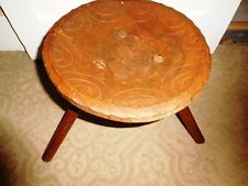 ANTIQUE AUTHENTIC AFRICAN HAND CARVED CONCAVE SEAT TABLE STOOL TRIPOD BASE VTG