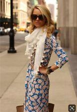 DVF Diane von Furstenberg NEW JEANNE TWO Blue Coral Palm Silk Wrap Dress 8
