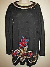 Carolina Colours Womans Vintage Ugly Christmas Sweater 22W Black with Sequins