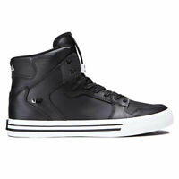 Supra Men's Vaider Hi Top Sneaker Shoes Black-White Footwear Skateboarding Skate