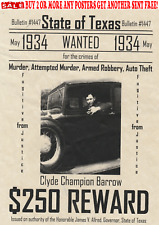 GANGSTER WANTED POSTERS ALCATRAZ CLYDE BARROW BONNIE PARKER ROB BANK CRIME LAW