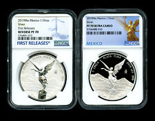 2019 MEXICO SILVER ONZA LIBERTAD REVERSE PROOF NGC PF70 2-COIN SET FIRST RELEASE