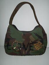 """VINTAGE Rocawear Camoflauge Sequin """"LOVE"""" Peace Sign Shoulder Strap Canvas Bag"""