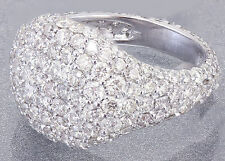18K White Gold Round Cut Diamond Ring Eternity Style Pinky Micro Pave 2.00ctw
