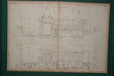 1855 GRANDE LOCOMOTIVA stampa ~ Sinclair'S TANK motore di piano di sezione longitudinale