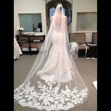 Graceful White Ivory 1T Cathedral Edge Lace Bridal Wedding Veil With Comb 3M