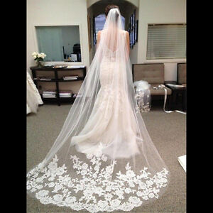3M Graceful Cathedral Edge Lace Bridal Wedding Veil & Comb White Ivory Floral J1