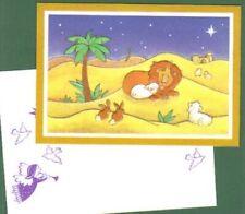 "New listing Lion & Lamb animal Holiday Christmas Card 2 bunnies ""Desert Calm"" last one Mint"