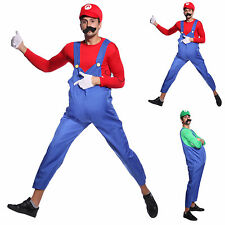 Disfraz de Super Mario Bros Luigi para adulto Hombre Fancy Dress Costume