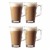 4 x Tea Cappuccino Glass Tassimo Coffee Cups Mugs Latte Glasses 240ml