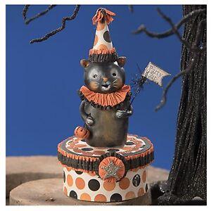 Bethany Lowe Polka Dots Kitty On Box Halloween Holiday Retro Vntg Decor Figurine