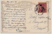 ÖSTERREICH 1918 10h PERFIN! KARTE WIEN nach BUDAPEST!